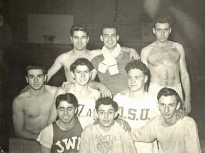 BBYM Wrestling, 1947 Front: Mal Kreske, Jackie Gaiser, Marv Rosen Middle: Saul Komesar, Murray Greenberg, Bob Bender Rear: Sam Komesar, Dave Coopersmith, Butch Gordon