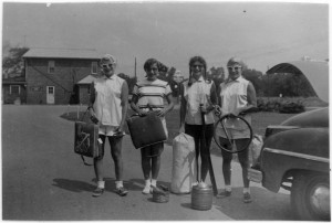 Jewish Center Sailing Club, 1953 Heading to Buckeye Lake, l. to r.: Sonia Stevens, Honey Fisher, Char Stevens, Rita Stevens Courtesy of Honey Abramson