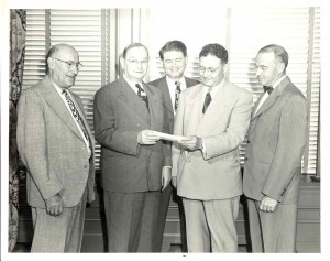B'nai B'rith, 1949 Presenting check for new Jewish Center l. to r.: Jacob Myers, J.W. Steinhauser, Herbert Wise, I.W. Garek, Robert Lazarus