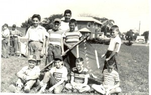 Blackhawk Campers, c.1953 Campers in front of the Jewish Center. Front l. to r.: ?, Colman Kahn, Michael Kravitz, Frank Kass Rear: ?, ?Sutton, Preston Gurwin, ?,? Courtesy of Preston Gurwin