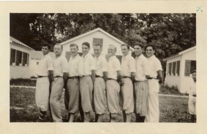 Camp Schonthal Counselors 1928- L to R: Brab, Beeker, Levinstein, Goldsmith, Cohen, Goodman, Levy, Schecter, Lakin.