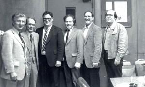 Groundbreaking Day, 1981 l. to r.: B. Lee Skilken, Bernard Yenkin, Charles Schiffman, Barton Schacter, Dennis Mellman, Michael Talis