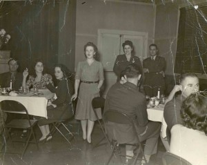 War Services Dinner at Hillel, abt. 1945 Standing: Nan Harris and Sylvia Schecter
