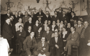"Members of a manual workers' union including Lothar Erlanger (glasses, front row), Leo and Friedel Frankel (third row, fourth and fifth from the left). 1932, Germany. Source: ""Members of a Manual Workers Union in Gartenblum, Germany,"" United States Holocaust Memorial Museum, http://digitalassets.ushmm.org/photoarchives/detail.aspx?id=1121077&search=fraenkel&index=2 (accessed January 7, 2011)."