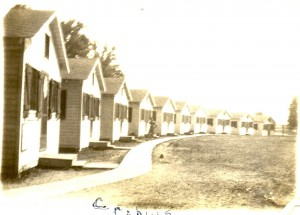 The 10 cabins built for Camp Schonthal campers, 1928
