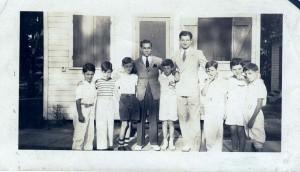 Camp Schonthal, Bunk 2, abt. 1940 l. to r.: Jonathan Horowitz, ?, ?, x Kaplan- counselor, Maynard Goldmeier, x Kaplan- counselor, ?, Marty Hoffman, Marv Greenberg Courtesy of Dr. Maynard Goldmeier