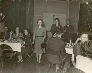 War Services Dinner at Hillel, abt. 1945 Standing: Nan Harris and Sylvia Schecter