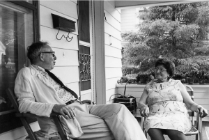 """Eugen Kullman, former Kenyon College faculty member, with Friedel Frankel in the early 1970s. The two friends would often sit together and speak in the dialect of German which they shared as their first language. Robert Schine, """"Frau Frankel,"""" Eugen Kullman Archives, https://segue.middlebury.edu/view/html/site/kullmann-archives/node/799422 (accessed January 7, 2011)."""