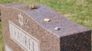 The Frankel gravestone with pebbles left by visitors to the gravesite. Photo by author.