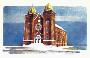 Agudas Achim Synagogue located near the corner of Washington and Donaldson